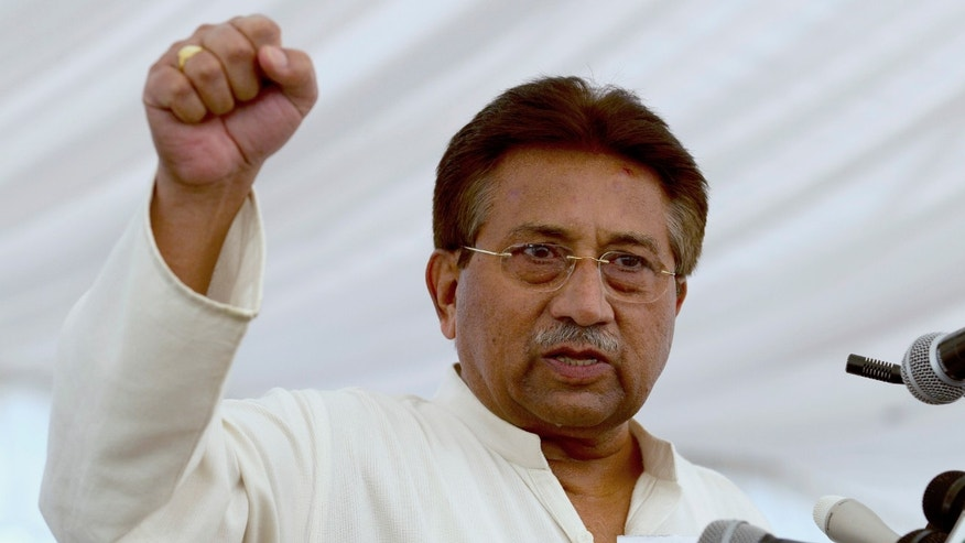 FILE - In this Monday, April 15, 2013 file photo, Pakistan's former President and military ruler Pervez Musharraf addresses his party supporters at his house in Islamabad, Pakistan. Musharraf spoken out Friday, Dec. 20, for the first time since his house arrest earlier this year, defending his actions while in power and telling a local TV station he did his best for the nation. (B.K. Bangash, File)