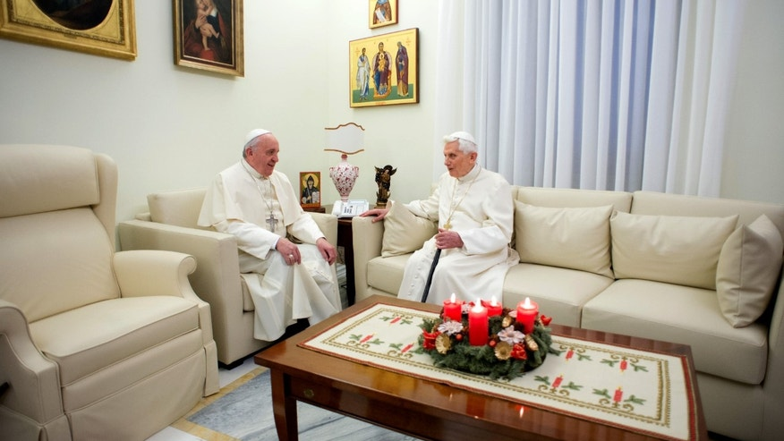 Pope Emeritus Benedict XVI and Pope Francis at the Vatican, Monday, Dec. 23, 2013.