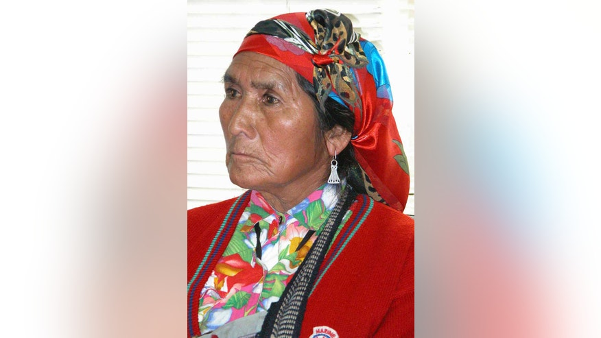 This undated photo shows Mapuche Indian leader Nicolasa Quintreman, who became the face of Chile's environmental movement, in an unknown location. The 73-year-old, who was found floating Tuesday in the reservoir she spent a decade trying to prevent from being created, became a national figure during protests against the construction of a hydroelectric dam on tribal land in the forested mountains of southern Chile. (AP Photo/Tribuna, AgenciaUno)