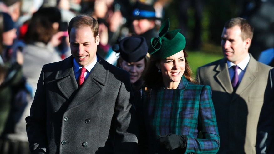 Britain's Prince William, left, accompanied by his wife Kate, Duchess of Cambridge, arrive to attend a Christmas Day Service with other members of the royal family at St. Mary's church on the grounds of Sandringham Estate, the Queen's retreat, in Norfolk, England, Wednesday, Dec. 25, 2013. (AP Photo/Lefteris Pitarakis)
