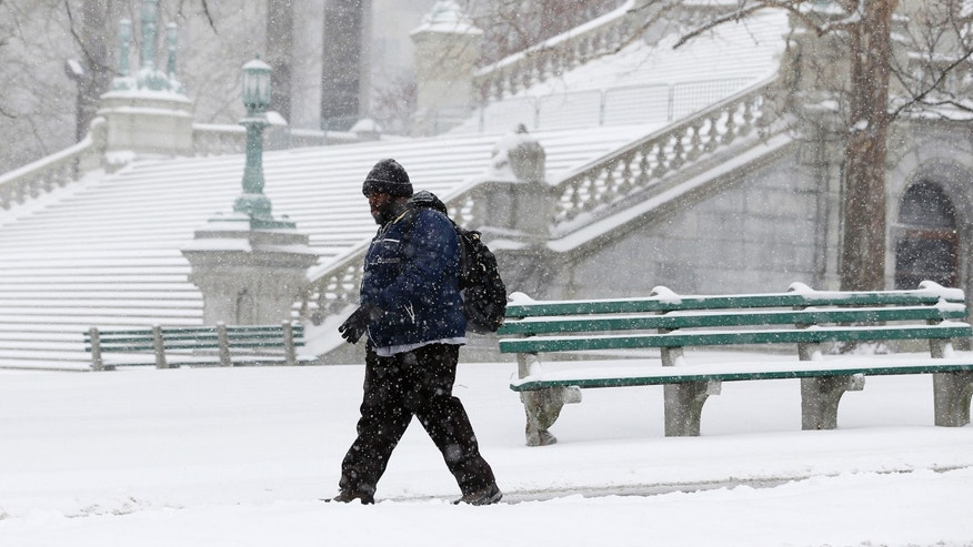 A pedestrian walks through the snow on Thursday, Jan. 2, 2014, in Albany, N.Y.