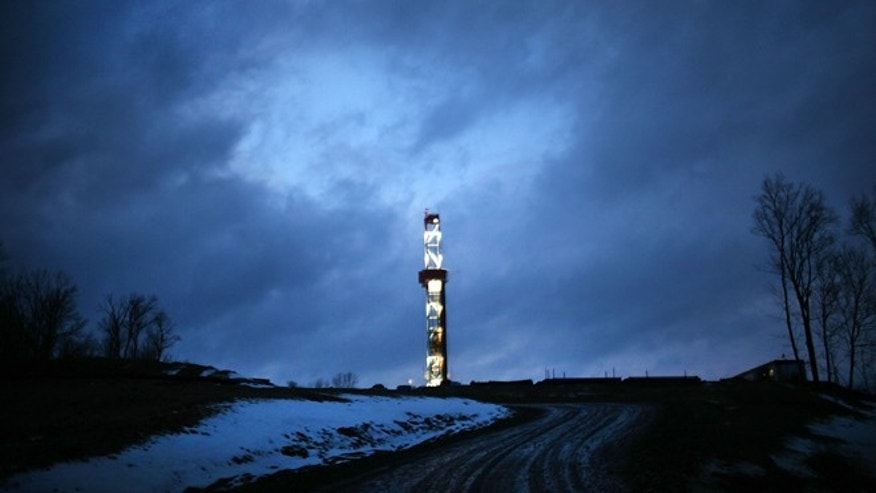 A Cabot Oil and Gas natural gas drill at a hydraulic fracturing site in January 2012 in Springville, Pennsylvania.