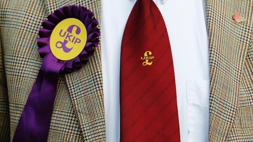 May 2, 2013:Norman Taylor, the UK Independence Party (UKIP) candidate in the Ashford Central local elections, wears his UKIP rosette and tie at a polling station at Bethersden Village Hall, in Bethersden, near Ashford in southern England.