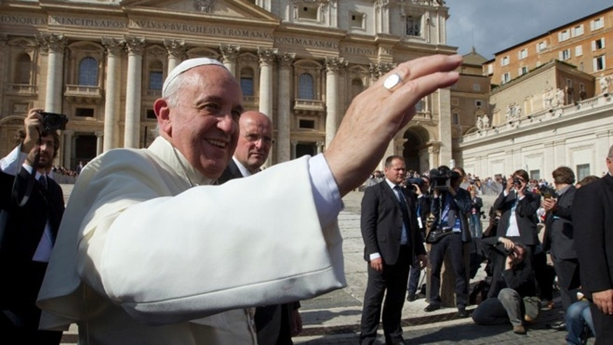 Pope Francis in St. Peter Square at the Vatican, Wednesday, Oct. 16, 2013.