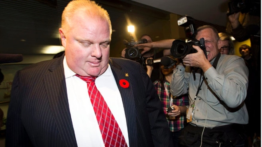 Nov. 8, 2013: Toronto Mayor Rob Ford leaves his office for the day in Toronto.