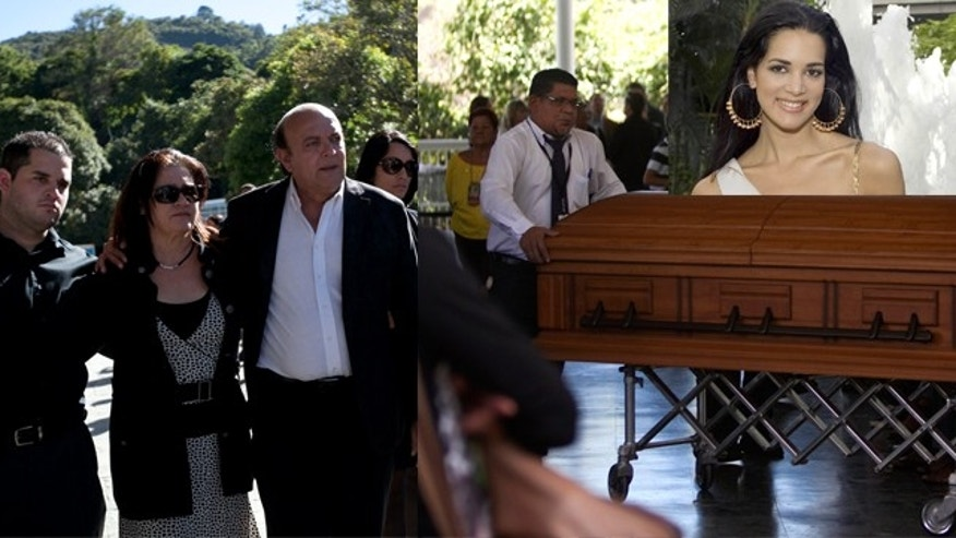 Family members of the late Monica Spear, a popular soap-opera actress and former Miss Venezuela (pictured top right), from left to right, Javier Spear, brother, Edna Mootz, mother, Rafael Spear, father, arrive at the East cemetery chapel for a closed memorial service in Caracas, Venezuela, Thursday, Jan. 9, 2014. (AP Photo/Alejandro Cegarra)