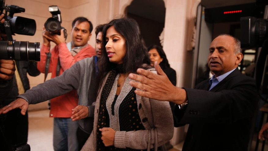 Devyani Khobragade leaves Maharastra Sadan state house in New Delhi, India, Saturday, Jan. 11, 2014. Khobragade, 39, is accused of exploiting her Indian-born housekeeper and nanny, allegedly having her work more than 100 hours a week for low pay and lying about it on a visa form. Khobragade has maintained her innocence, and Indian officials have described her treatment as barbaric. (AP Photo/Saurabh Das)