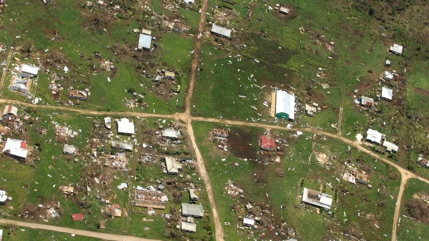 This aerial photo released by the Royal New Zealand Air Force, taken on Saturday, Jan. 11, 2014, shows the damage to Ha'apai island group, in Tonga, following Cyclone Ian. Tongan officials said about 300 to 400 families had their homes severely damaged or destroyed in the powerful storm that struck Saturday but they are relieved the death toll hasn't risen beyond one. (AP Photo/Royal New Zealand Air Force) EDITORIAL USE ONLY