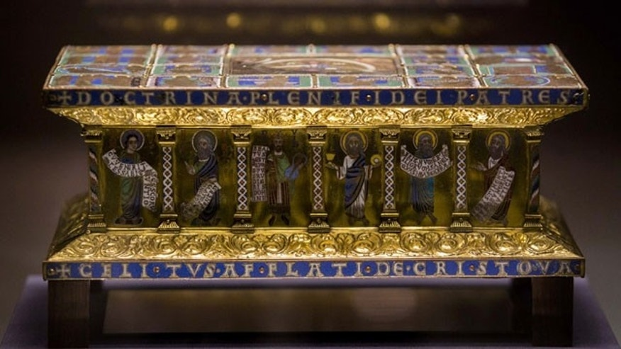 January 9, 2014: The medieval portable altar of Eilbertus a part of the Welfenschatz, is displayed at the Bode Museum in Berlin. One of Germany's most precious collections of medieval Christian art is at the center of a complicated ownership dispute between the foundation that oversees the Berlin museums and the heirs of Jewish art dealers who claim their ancestors had to sell the objects to the Nazis under pressure in 1935. (AP Photo/Markus Schreiber)