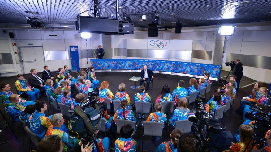 Jan. 17, 2014 - Russian President Vladimir Putin speaks at his meeting with Olympic volunteers in the Black Sea resort of Sochi, Russia.