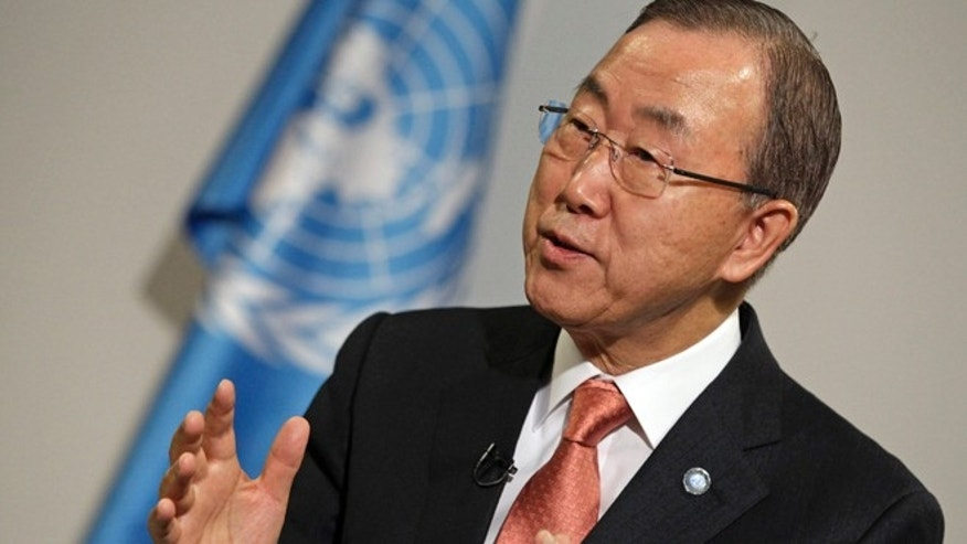 Nov. 21, 2013: U.N. Secretary General Ban Ki-moon gestures during an interview during the 19th conference of the United Nations Framework Convention on Climate Change in Warsaw.