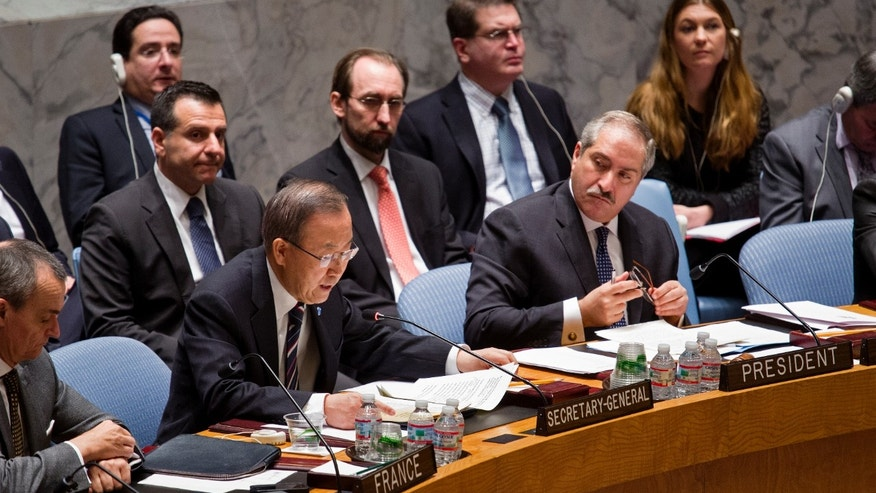 Jan. 20, 2014 - Jordanian Foreign Minister and President of the UN Security Council Nasser Judeh , right, listens to UN Secretary-General Ban Ki-moon during a meeting of the UN Security Council at UN headquarters.