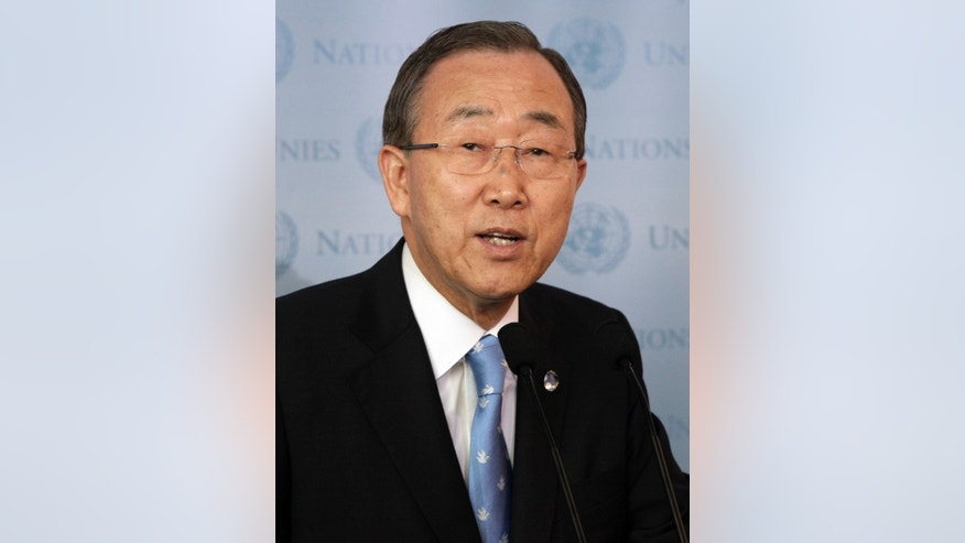 "This Sept. 21, 2012, file photo shows United Nations Secretary General Ban Ki-moon attending a brief news conference at the United Nations. Ban Ki-moon says Iran has agreed to endorse the principles in the so-called ""Geneva communique.""  (AP Photo/Richard Drew, File)"