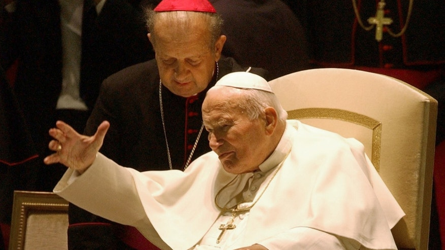 Oct. 16, 2003 - FILE photo of Pope John Paul II with Archbishop Stanislaw Dziwisz at the Vatican.