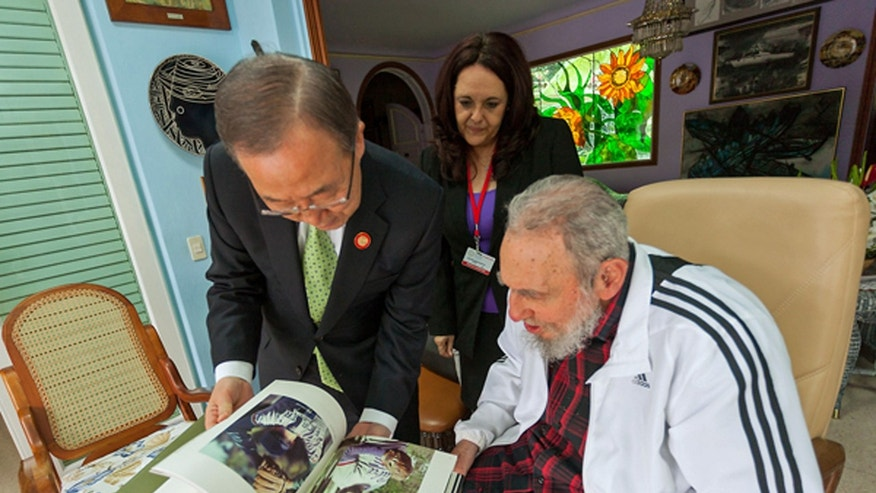 In this photo released by Cubadebate,  U.N. Secretary-General Ban Ki-moon visits with Cuba's former President Fidel Castro in Havana, Cuba, Tuesday, Jan. 28, 2014. Ban Ki-moon  is in Havana to attend the Community of Latin American and Caribbean States summit. (AP Photo/Cubadebate, Alex Castro)