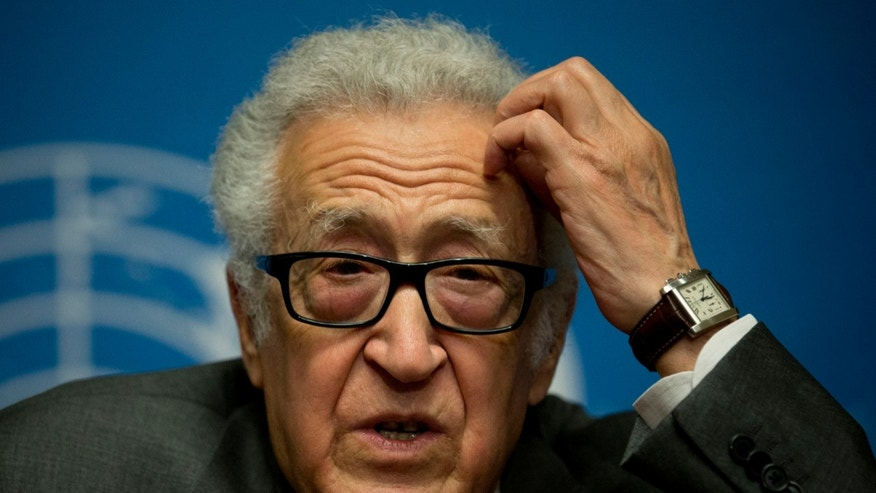 "FILE - This is a Saturday, Jan. 25, 2014.  file photo of U.N. mediator Lakhdar Brahimi gestures during a press briefing at the United Nations headquarters in Geneva, Switzerland,  The U.N. mediator trying to broker peace after three years of civil war in Syria says ""we haven't achieved much"" after two brief face-to-face encounters between the government and the opposition.   Brahimi has seen faces like these before, barely able to remain in the same room, much less speak to each other. Lebanese, Afghans, Iraqis, now Syrians. Even, two decades ago, Algerians like himself. For days now, the veteran U.N. mediator has presided over peace talks intended to lead the way out of Syria's civil war. He brought President Bashar Assad's government and the opposition face to face for the first time on Saturday, while still ensuring that they don't have to enter by the same door or address each other directly. He is 80. He is patient.(AP Photo/Anja Niedringhaus, File)"