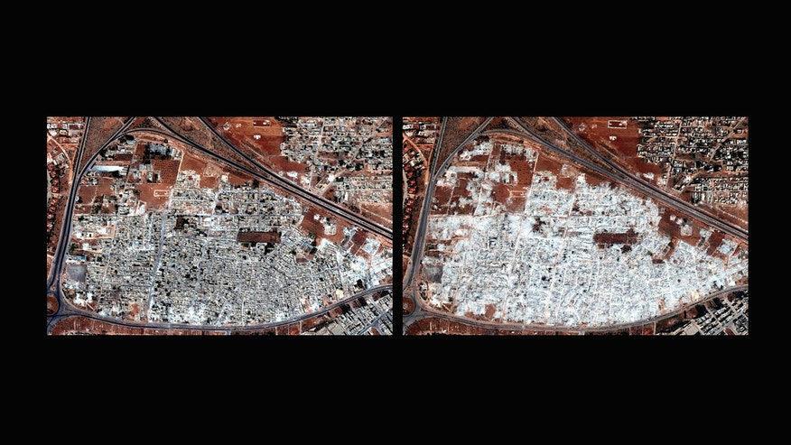 COMBO - This combination of two satellite images released by Human Rights Watch shows the Masha al-Arb'een neighborhood in Hama, Syria on Sept. 28, 2012, left, and on Oct. 13, 2012. The Syrian government used controlled explosives and bulldozers to raze thousands of residential buildings, in some cases entire neighborhoods, in a campaign that appeared designed to punish civilians sympathetic to the opposition or cause disproportionate harm to them, an international human rights group said Thursday, Jan. 30, 2014. The demolitions took place between July 2012 and July 2013 in seven opposition districts in and around the capital, Damascus, and the central city of Hama, Human Rights Watch said in a new 38-page report. The New York-based group said the deliberate destruction violated international law, and called for an immediate end to the practice. (AP Photo/Human Rights Watch via Digital Globe)