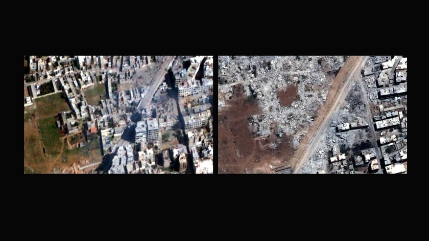 COMBO - This combination of two satellite images released by Human Rights Watch shows dozens of high-rise residential and commercial buildings along the main road between Mezzeh Air Base and Daraya, a Damascus, Syria suburb on Feb. 4, 2013, left, and on July 1, 2013, right. The Syrian government used controlled explosives and bulldozers to raze thousands of residential buildings, in some cases entire neighborhoods, in a campaign that appeared designed to punish civilians sympathetic to the opposition or cause disproportionate harm to them, an international human rights group said Thursday, Jan. 30, 2014. The demolitions took place between July 2012 and July 2013 in seven opposition districts in and around the capital, Damascus, and the central city of Hama, Human Rights Watch said in a new 38-page report. The New York-based group said the deliberate destruction violated international law, and called for an immediate end to the practice.(AP Photo/Human Rights Watch via Digital Globe)