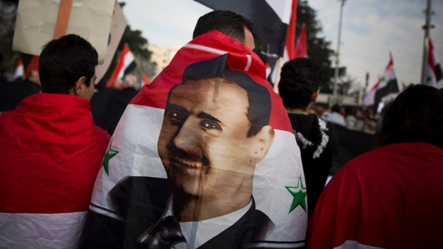 Jan. 31, 2014 - A Syrian demonstrator is wrapped in a Syrian flag carrying the picture of President Assad as they shout pro-government slogans during a demonstration outside the United Nations headquarters in Geneva, Switzerland.