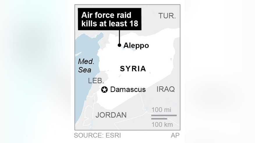 Map locates Aleppo, Syria, where government forces launched air raids; 1c x 2 inches; 46.5 mm x 50 mm;