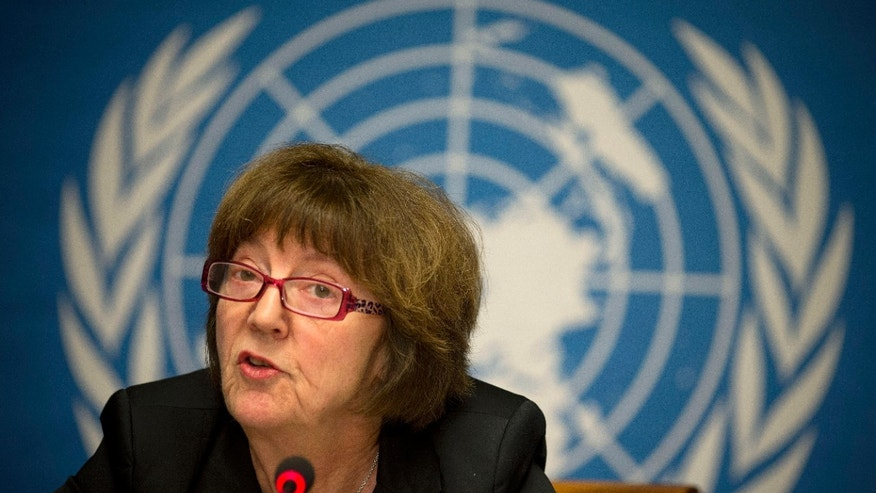 Kirsten Sandberg, chairperson of the U.N. human rights committee on the rights of the child, talks during a press conference at the United Nations headquarters in Geneva, Switzerland, Wednesday, Feb. 5, 2014. A U.N. human rights committee denounced the Vatican on Wednesday for adopting policies that allowed priests to rape and molest tens of thousands of children over decades, and urged it to open its files on the pedophiles and the churchmen who concealed their crimes. (AP Photo/Anja Niedringhaus)