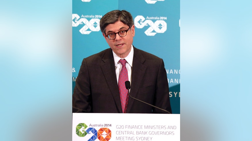 .U.S Secretary of the Treasurer Jack Lew speaks at a press conference during the G20 Finance Ministers and Central Bank Governors meeting in Sydney, Australia, Friday, Feb. 21, 2014.(AP Photo/Rob Griffith)