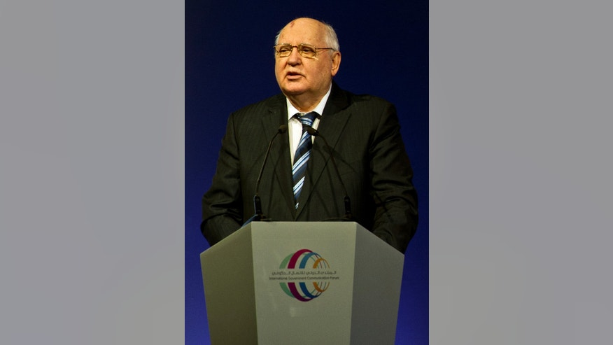 Former Soviet leader Mikhail Gorbachev, makes a speech to a forum on government communications in Sharjah, United Arab Emirates, Sunday, Feb. 23, 2014. Gorbachev said the crisis in Ukraine stems from the government's failure to act democratically. Gorbachev, 82, won the 1990 Nobel Peace Prize for his role in ending the Cold War, but he has little influence in today's Russia. (AP Photo/Al Moutasim Al Maskery)