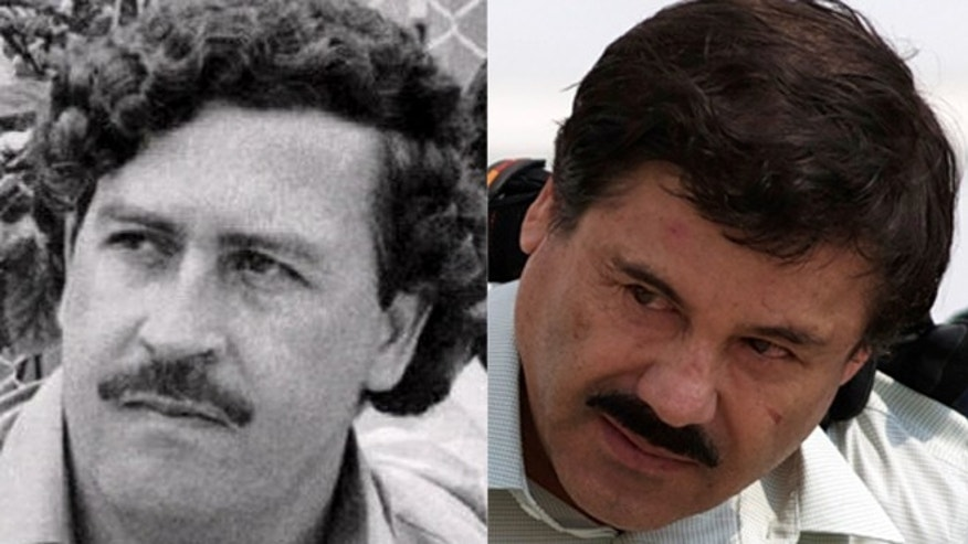 "A photo composite of Colombian drug lord Pablo Escobar (left) and Mexican trafficker Joaquín ""El Chapo"" Guzmán."