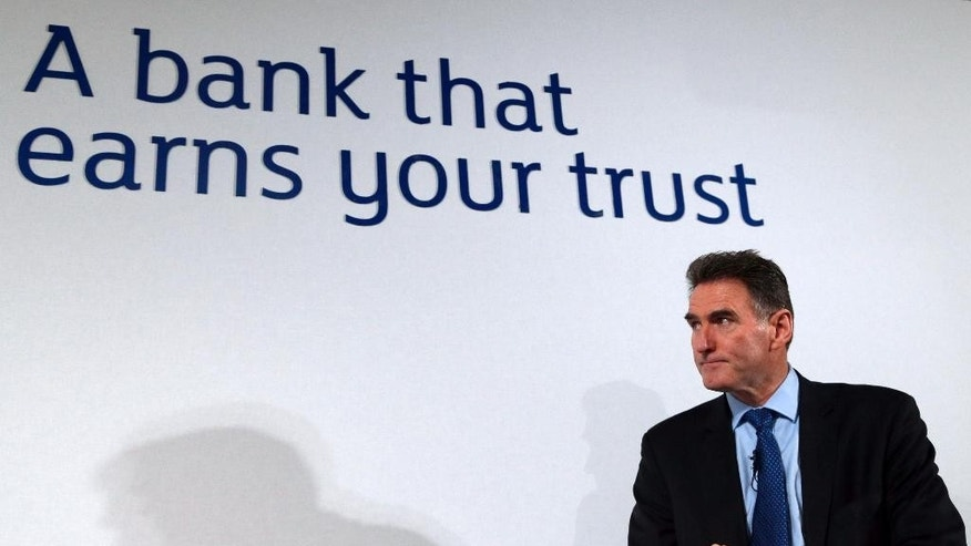 Ross McEwan, CEO of the Royal Bank of Scotland (RBS) pauses during his speech at a news conference in London, Thursday, Feb. 27, 2014. Taxpayer-owned Royal Bank of Scotland took a whopping 8.2 billion-pound ($13.7 billion) pre-tax loss for 2013 as it announced a new plan Thursday to transform itself, streamlining the bank to make it smaller and safer. (AP Photo/Lefteris Pitarakis)