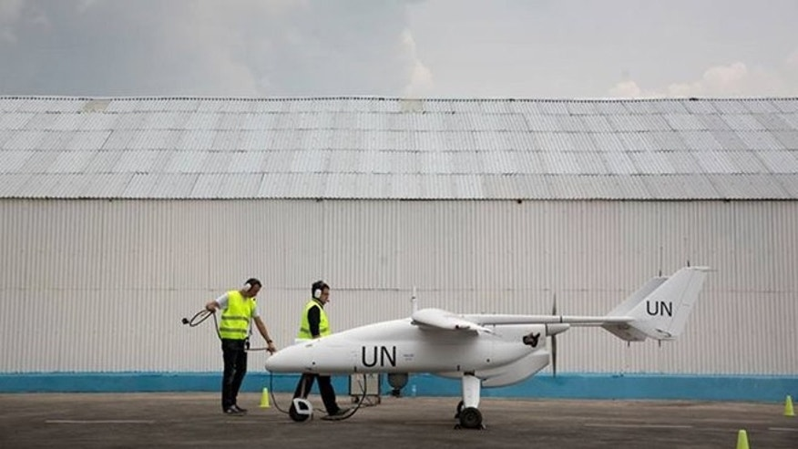 A Falco UAV being prepped for take off.