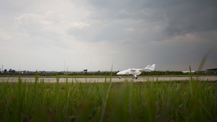 December, 3 2013: A MONUSCO Unarmed drone is taxiing on Goma airport during official launch ceremony.