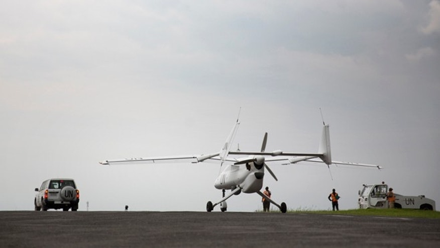 A MONUSCO Unarmed drone is taxiing on Goma airport.