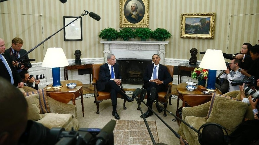 FILE - In this Sept. 30, 2013, photo, President Barack Obama meets with Israeli Prime Minister Benjamin Netanyahu in the Oval Office at the White House in Washington. Obama and Netanyahu's meeting at the White House Monday, March 3, 2014, comes at a critical juncture in negotiations on peace talks with the Palistinians and pursuit of a nuclear accord with Iran.    (AP Photo/Charles Dharapak, File)