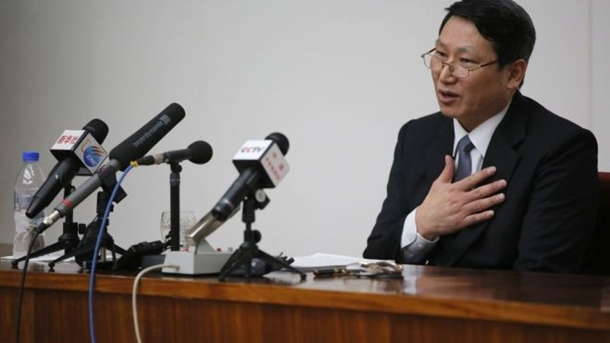 February 27, 2014: Kim Jung Wook, a South Korean Baptist missionary, speaks during a news conference in Pyongyang, North Korea. (AP)
