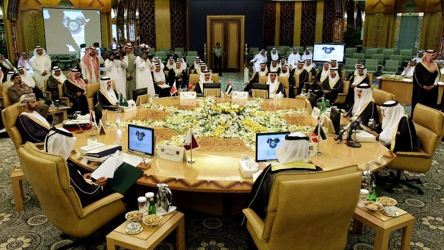FILE - This Wednesday, May 2, 2012 file photo, shows a general view of the Interior ministers of the Gulf Cooperation Council (GCC) during their meeting in Riyadh, Saudi Arabia. Saudi Arabia, the United Arab Emirates and Bahrain said Wednesday, March 5, 2014 that they have recalled their ambassadors from the Gulf nation of Qatar over its alleged breach of a regional security deal in the clearest sign yet of the rift among Gulf Arab countries over Islamists in the region. Tensions have been brewing between Gulf countries and Qatar since Egyptians ousted President Hosni Mubarak and Qatar's massive financial and public support for his successor, Islamist President Mohammed Morsi, stood at odds with the UAE and Saudi Arabia's policies. (AP Photo/Hassan Ammar, File)