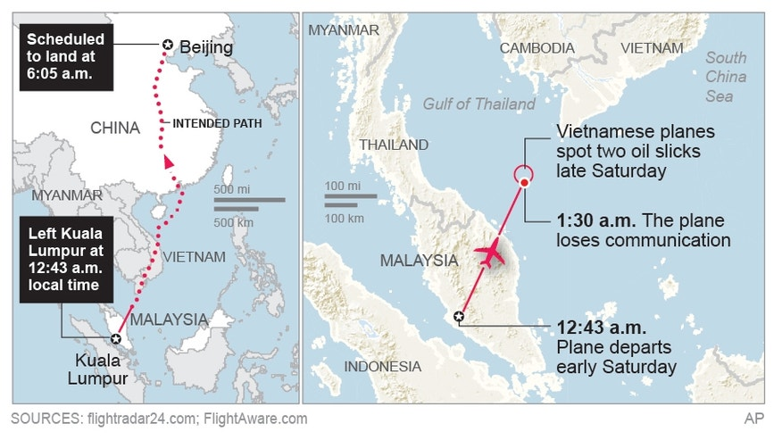 Map shows where missing plane departed, scheduled to land, the intended path and where it disappeared.; 3c x 3 inches; 146 mm x 76 mm;