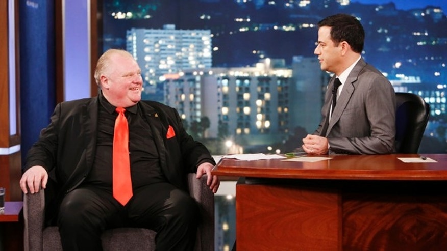 March 3, 2014: This file image released by ABC shows Toronto Mayor Rob Ford, left, with host Jimmy Kimmel on the late night talk show &quot&#x3b;Jimmy Kimmel Live,&quot&#x3b; in Los Angeles.