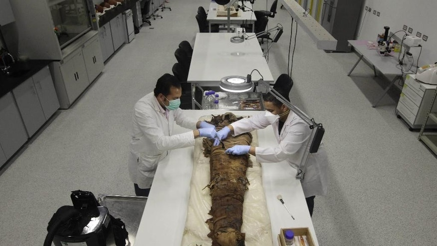 Egyptian conservators clean a female mummy dated to the Pharaonic late period, (712-323 BC), in the conservation center of Egypt's Grand museum under construction, just outside of Cairo, Egypt, Monday, March 17, 2014. Egypt's antiquities minister says construction has begun on the main hall of a massive new museum by the Pyramids, the final phase of a complex that's intended to house 100,000 ancient artifacts including King Tutankhamun's mummy. (AP Photo/Amr Nabil)