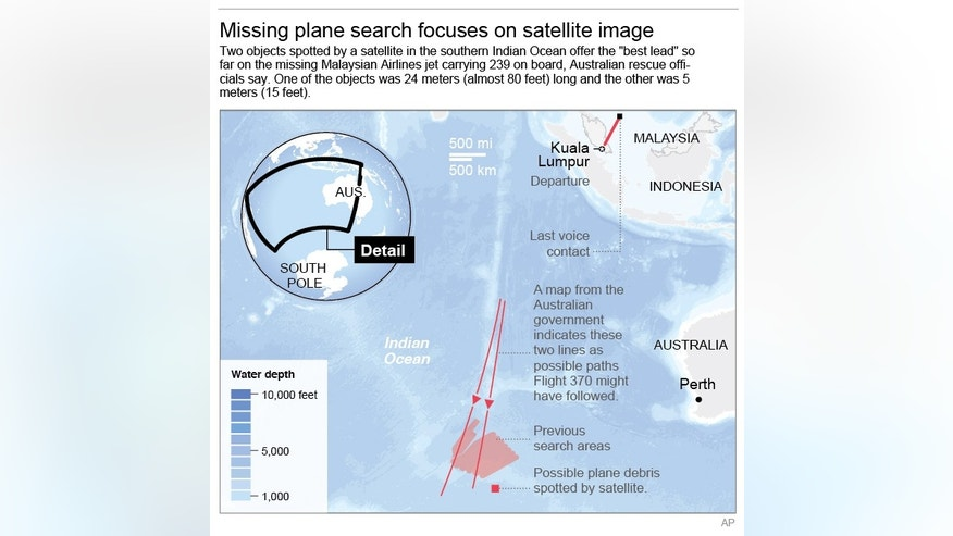 Map shows search areas for missing Malaysia Airlines missing jet.; 3c x 5 inches; 146 mm x 127 mm;
