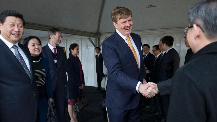 China's President Xi Jinping, left, watches as Dutch King Willem Alexander, center, greets members of the Chinese delegation upon Xi's arrival at Schiphol Amsterdam airport, Netherlands, Saturday March 22, 2014. Xi is on a two-day state visit ahead of the March 24 and 25 Nuclear Security Summit in The Hague. (AP Photo/Peter Dejong, Pool)