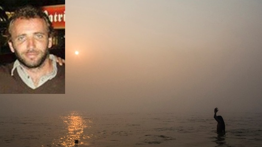 Inset: Héctor Rolotti (via Facebook). Main picture: A naga sadhu prays as he bathes in the waters of the holy Ganges river near Allahabad on January 14, 2013. (Photo by Daniel Berehulak/Getty Images)