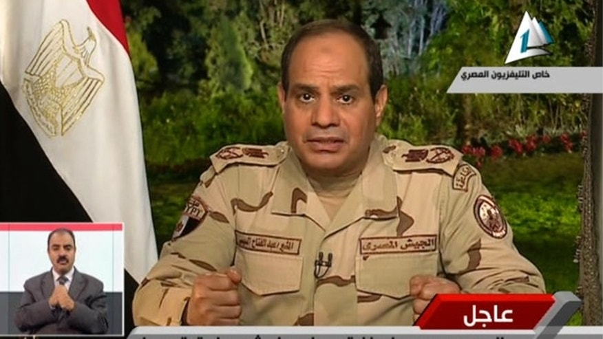 Mar. 26, 2014: In this image made from video broadcast on Egypt&#39&#x3b;s State Television, Egypt&#39&#x3b;s military chief Abdel-Fattah el-Sissi speaks in a nationally televised speech, announcing that he will run for president, in Cairo, Egypt.