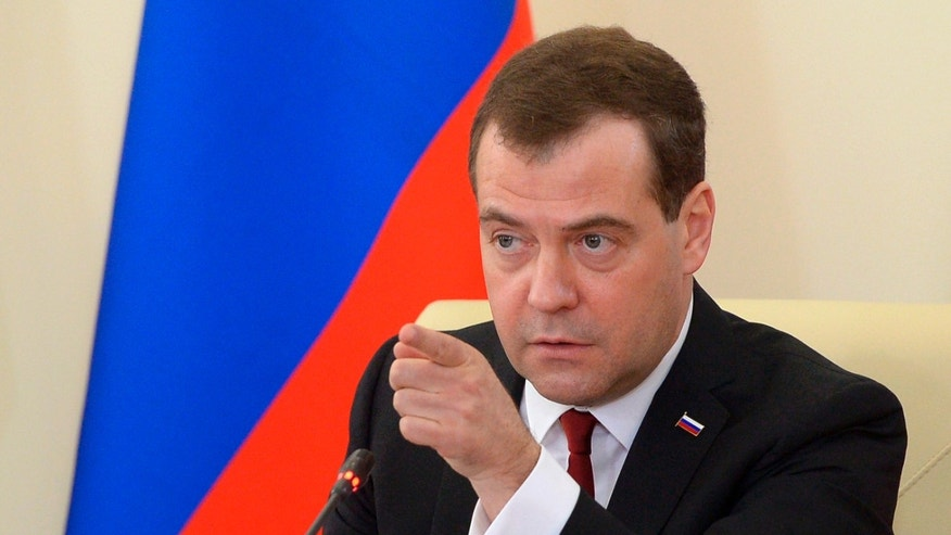 March 31, 2014 - Russian Prime Minister Dmitry  speaks at a meeting for the economic development of Crimea in Simferopol, Crimea. Medvedev is visiting Crimea to consider priorities for its economic development following the Russian takeover.