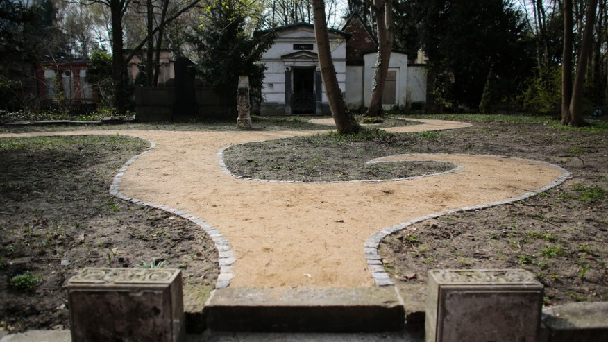 April 1, 2014: A view to the new designed part of the Georgen Parochial Cemetery in central district Mitte of Berlin.