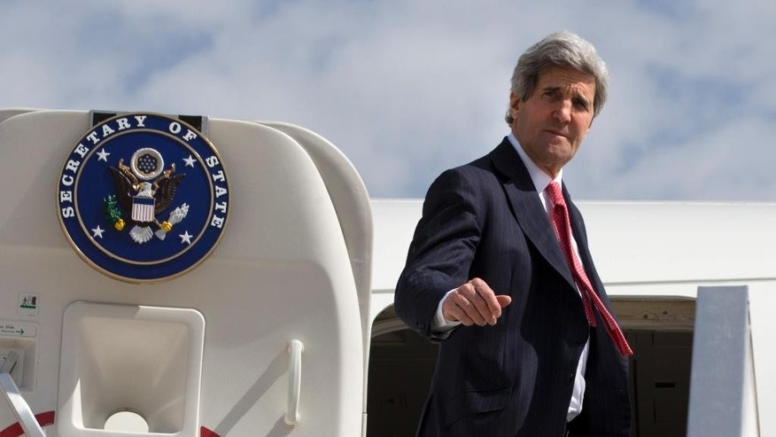 U.S. Secretary of State John Kerry leaves Tel Aviv, Israel Tuesday April 1, 2014, continuing on to NATO meetings in Brussels after meeting in Israel with Israeli Prime Minister Benjamin Netanyahu about the Middle East peace process talks. (AP Photo/Jacquelyn Martin, Pool)