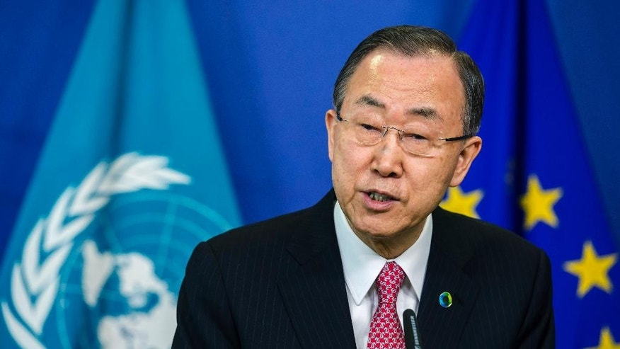 United Nations Secretary General Ban Ki-moon addresses the media at the European Commission headquarters in Brussels on Wednesday, April 2, 2014. (AP Photo/Geert Vanden Wijngaert)