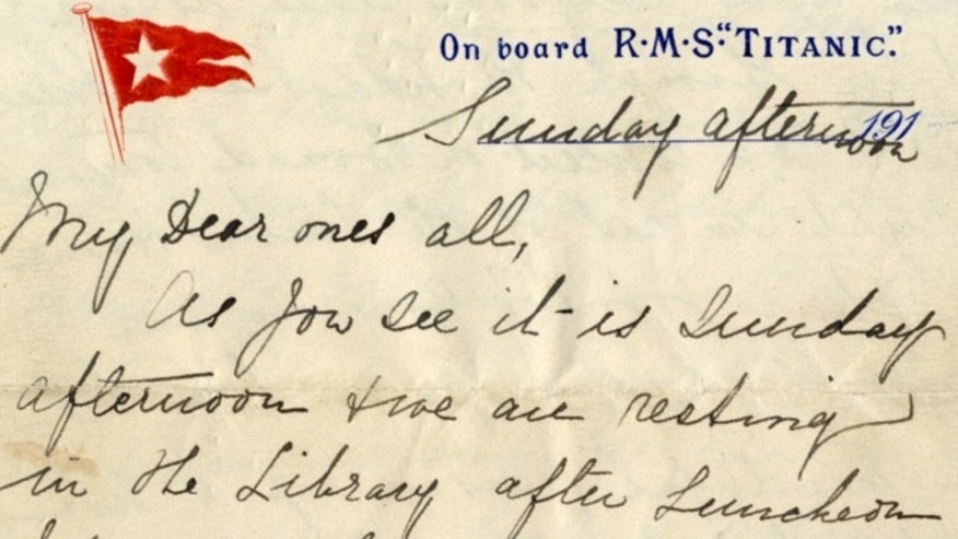 UNDATED: The letter written by passenger Esther Hart aboard the Titanic will be auctioned by Henry Aldridge and Son on April 26, 2014.