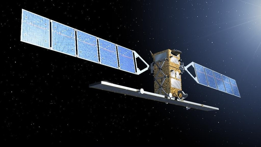 The image, publicly provided by the European Space Agency ESA, shows an artist rendering of a Sentinel satellite. The European Space Agency is launching the first of six satellites that will be part of a new system designed to better monitor climate change, environmental disasters and catastrophes like floods, volcanoes and earthquakes.  (AP Photo/ European Space Agency, ESA) MANDATORY CREDIT
