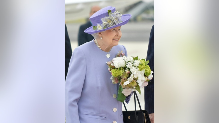 April 3, 2014: Queen Elizabeth II arrives at Rome's Ciampino military airport to start a one-day visit to Italy and the Vatican.