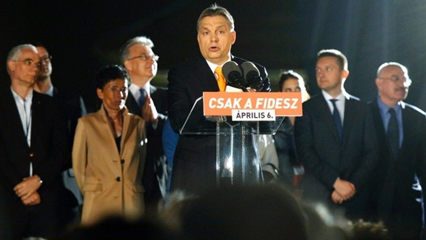 Apr. 6, 2014: Hungarian Prime Minister Viktor Orban, leader of the ruling center-right Fidesz party delivers his victory speech after the parliamentary elections in downtown Budapest, Hungary.